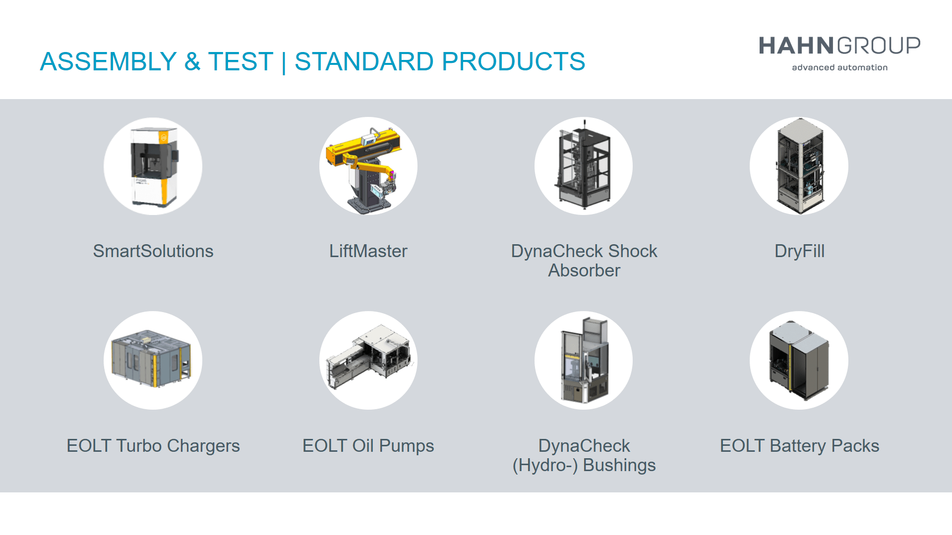 Standard Products of HAHN Group Assembly and Test