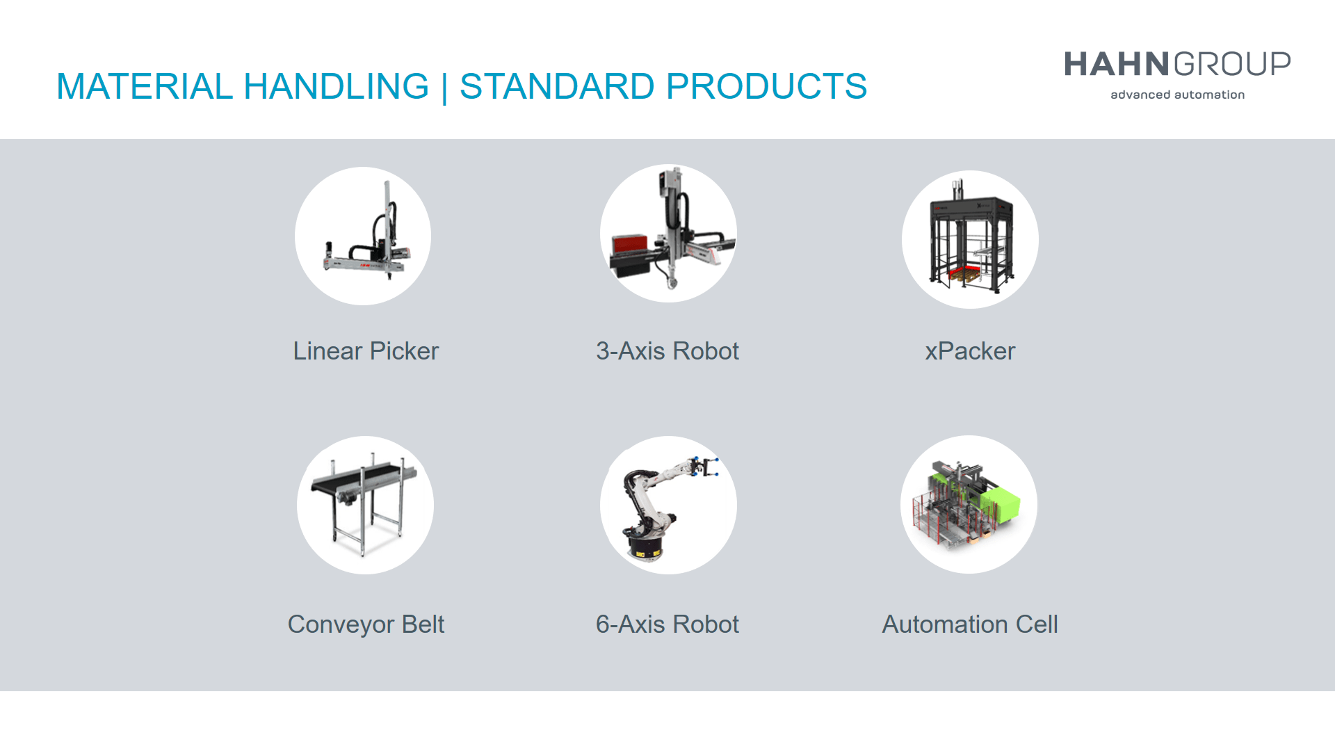 Standard Products of HAHN Group Material Handling